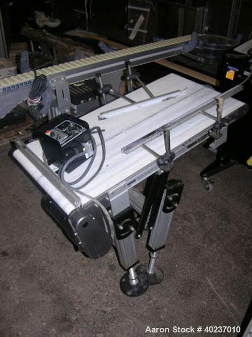 "Used- Dorner inclined belt conveyor, series 2200. 18"" wide x 34"" long belt. Driven by a variable speed, 115 volt motor."