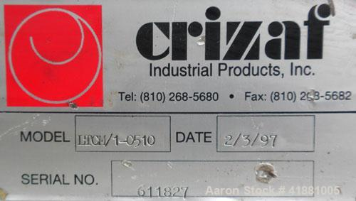 """Used- Crizaf Incline Belt Conveyor, Model LTCH/1-0510. 10"""" wide x 12"""" horizontal section x 40"""" incline section. Driven by a ..."""