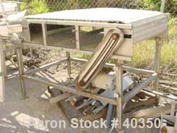 "Used- Inline Conveyor. Plastic Interlox type belt 36"" wide x 60"" long. Stainless steel exterior frame. Approximate 48"" belt ..."