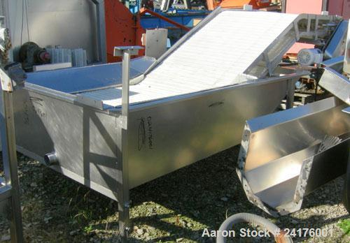 "Used- Belt Conveyor, "" Z "" Shaped. 38"" wide x 48"" bottom section x 48"" inclined section x 36"" top section plastic mesh belt,..."