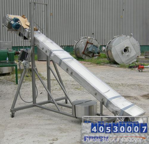 "Used- Incline Belt Conveyor, 304 stainless steel. 12"" wide x 172"" long rubber belt, driven by a 1 hp, 3/60/460 volt, 1745 rp..."