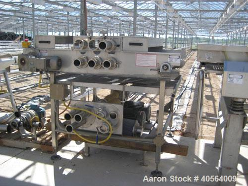 Used- Conveyor, loose stainless steel wire mesh 48 in wide x 62 in long with stainless steel frame, air manifold and two 15 ...