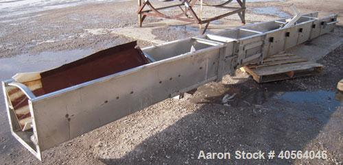 Used- Approximately 14 inch wide x 34 foot long drag chain conveyor, stainless steel housing with carbon steel chain and som...
