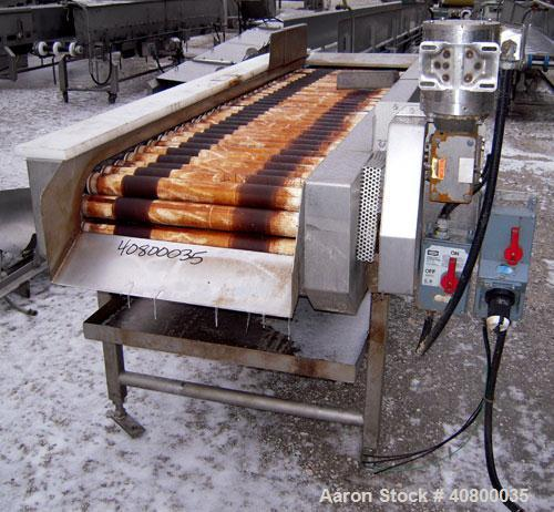 """Used- Motorized Roller Conveyor. 24"""" wide x 90"""" long. Driven by a 1/2hp, 3/60/575 volt, 1740 rpm gear motor. Includes a bott..."""