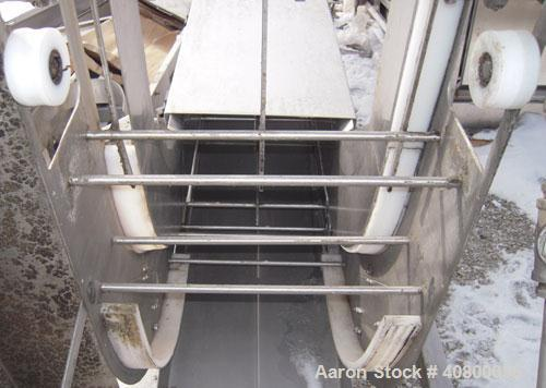 "Used- Vertical ""Z"" Shaped Conveyor, 304 stainless steel frame. 16"" wide plastic belt, 48"" long horizontal bottom infeed sect..."