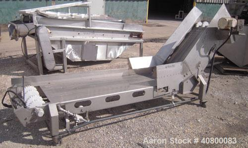 """Used- InclinedBelt Conveyor, 304 stainless steel frame.24"""" wide x84"""" long bottom infeed section,48"""" long incline section..."""