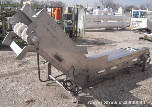 "Used- Inclined Belt Conveyor, 304 stainless steel frame. 24"" wide x 84"" long bottom infeed section, 48"" long incline section..."