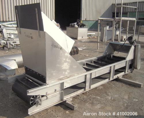 "Used- Incline Belt Conveyor. 23 1/2"" wide x 132"" long rubber belt. Driven by a 1 hp, 3/60/208-230/460 volt, 1725 rpm gearmot..."