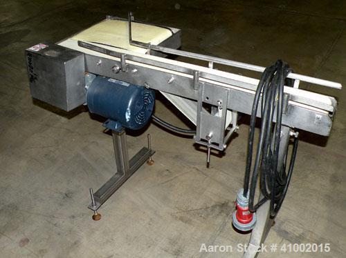 """Used- Belt Conveyor, Transfer Type. 4"""" wide x 42"""" long section, and a 10 3/4"""" wide x 14"""" long transfer section. Driven by a ..."""
