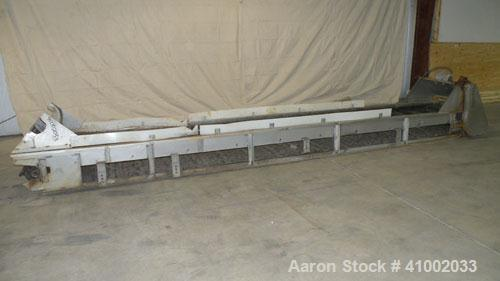 "Used- Belt Conveyor. Rubber belt 23"" wide x 216"" long. 11"" long x 2"" deep pockets. Driven by a 1 hp, 3/60/208-230/460 volt, ..."