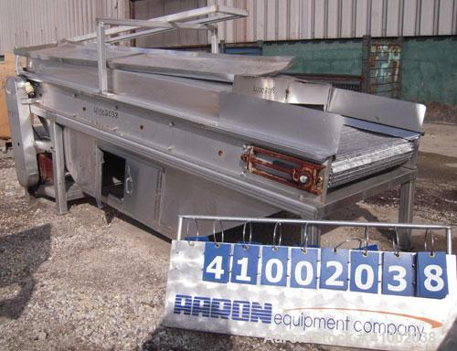 """Used- Inclined Cooling Belt Conveyor, 304 stainless steel. 36"""" wide x 102"""" long wire mesh stainless steel belt. Driven by a ..."""