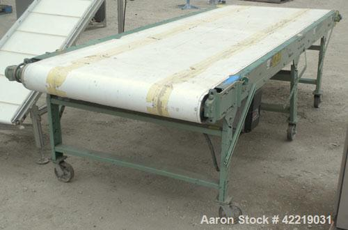 "Used- Belt Conveyor, Carbon Steel. 48"" wide x 140"" long rubber belt. Driven by a Sparks Dura Roller drive, .25 hp, 3/60/240 ..."