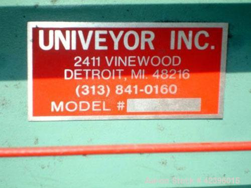 """Used- Univeyor Belt Conveyor, Carbon Steel. 40"""" Wide x 21' long belt, approximate 69"""" high discharge height. Driven by a 1 h..."""