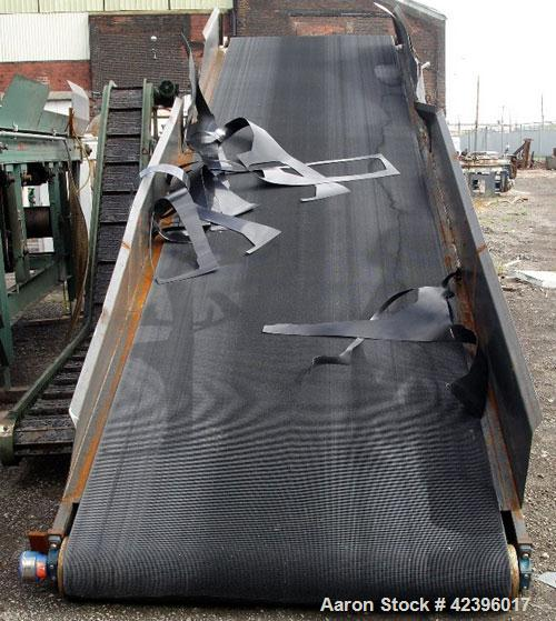 """Used- Belt Conveyor, Carbon Steel. 60"""" Wide x 22' long belt, approximate 8.5' high discharge height. Driven by a 0.75 hp Dur..."""