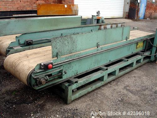 "Used- Belt Conveyor, Carbon Steel. 23"" Wide x 12' long plastic belt. Driven by a 1 hp, 220/440 volt motor."