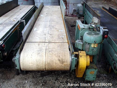 "Used- Belt Conveyor, Carbon Steel. 23"" Wide x 12' long plastic belt. Driven by a 1 hp, 220/440 volt motor."
