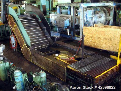 """Used- Z Style Metal Cleated Belt Conveyor. 48"""" Wide x 10' long flat section, 7' long inclined section, 4 long flat section, ..."""