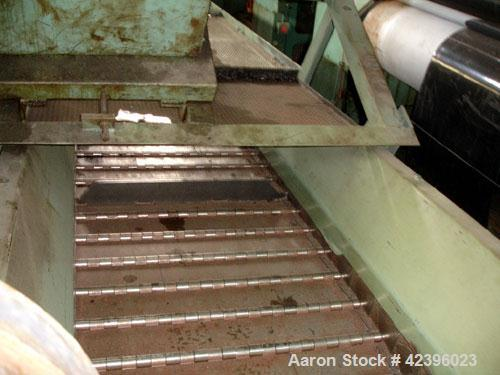 "Used- Z Style Metal Cleated Belt Conveyor. 36"" Wide x 20' long flat section, 11' long inclined section, approximate 84"" high..."