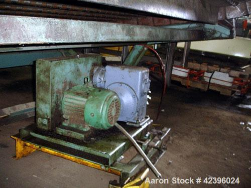 """Used- L Style Metal Cleated Belt Conveyor. 84"""" Wide x 9' long flat section, 14' long inclined section, approximate 144"""" high..."""