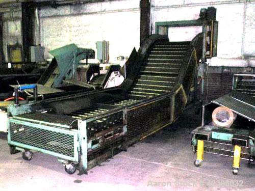 "Used- Z Style Metal Cleated Belt Conveyor. 46"" Wide x 9' long flat section, 7' long inclined section, 4' flat section. Appro..."