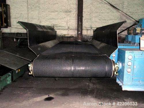 "Used- Belt Conveyor, Carbon Steel. 48"" Wide x 16' rubber belt. 24"" High side rails, on stand.."