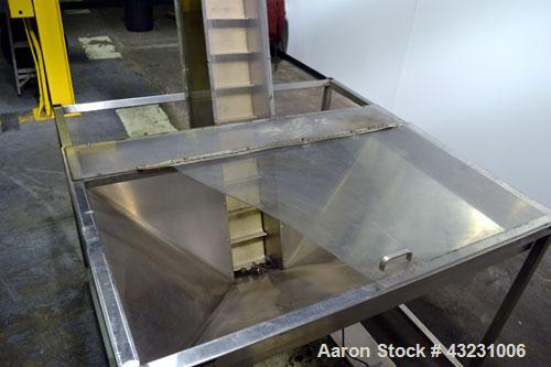 """Used- Bulk Elevator Feeder, Stainless Steel. Approximate 10"""" wide x 84 long pleated belt, approximate 80"""" discharge height. ..."""