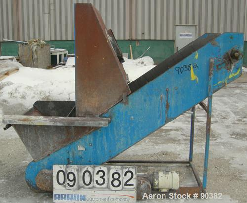"""USED:  Incline Belt Conveyor, Carbon Steel.  Approximately 29 7/8"""" wide x 87"""" long x rubber pleated belt, pleats approximate..."""