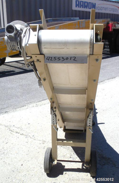 Used- Plastic Process Equipment Fixed Incline Belt Conveyor, Model FIC-12, Carbon Steel. 10'' Wide x 48'' long bottom horizo...
