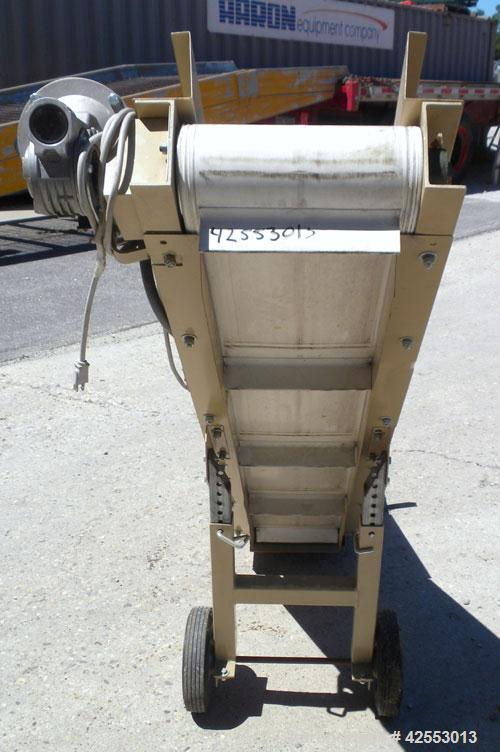 Used- Plastic Process Equipment Fixed Incline Belt Conveyor, Model FIC-12, Carbon Steel. 10'' Wide x 48'' long bottom horizo...