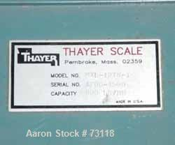 "USED: Thayer belt weigh feeder, model MXL-13TM-I. Capacity 500-800pounds an hour. 13"" wide x 42"" long Buna N belt. 9"" x 10-1..."