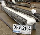 Used- Incline Belt Conveyor, 304 stainless steel frame. Plastic belt 18