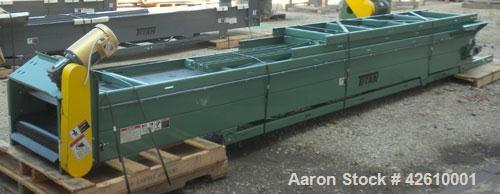 Used- Titan Industries Pleated Belt Conveyor, model 304, carbon steel. 24'' Wide x 208'' long rubber belt with 11-1/2'' long...