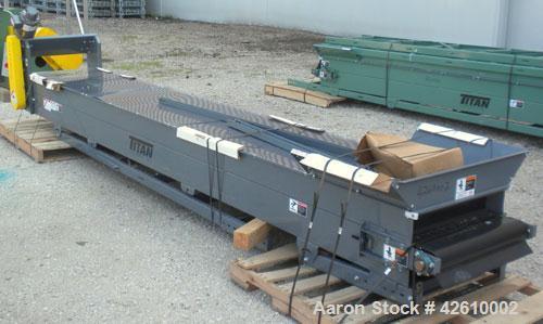 Used- Titan Industries Pleated Belt Conveyor, model 304, carbon steel. 24'' Wide x 177'' long rubber belt with 11-1/2'' long...