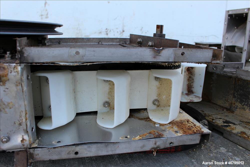 """Used- Bucket Elevator, Vertical. Approximate 12' Tall housing with 3-1/4"""" long x 4"""" wide x 3"""" deep poly buckets on 5-1/2"""" ce..."""