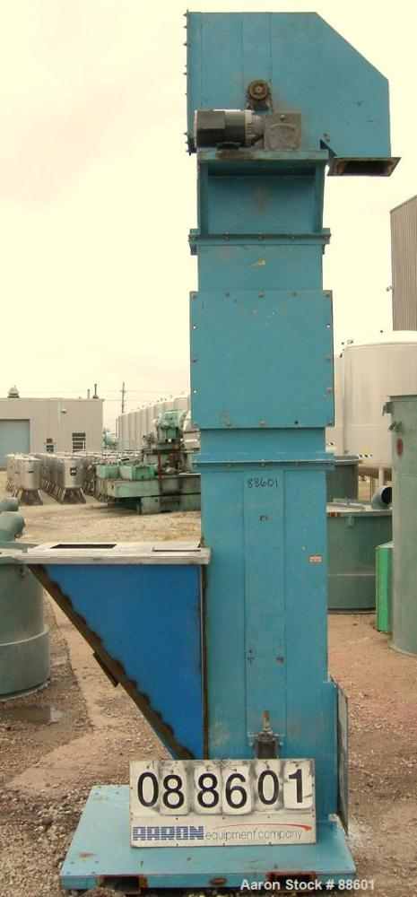 "USED: American Bulk Conveying bucket elevator, model G4, carbon steel. 5-1/2"" wide x 4"" long x 4"" deep cast iron buckets on ..."
