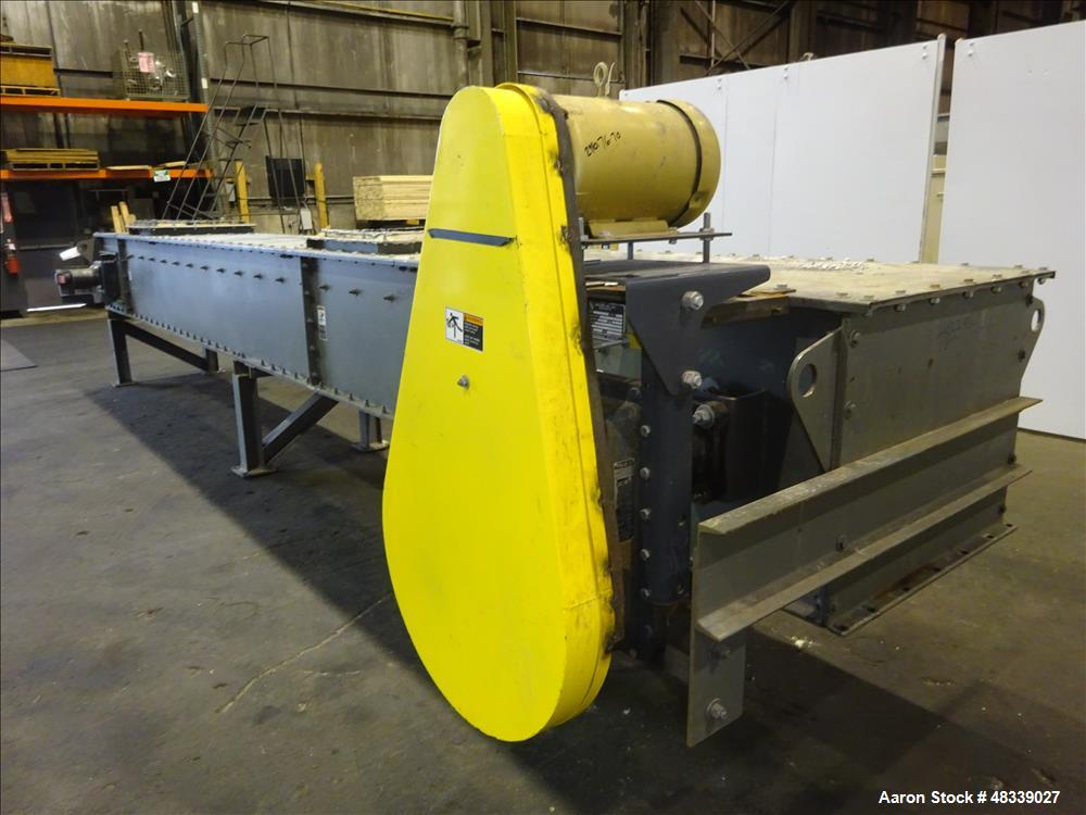"Used- KWS Drag Conveyor, Model 31WX25HX23-6, Carbon Steel. 31"" Wide x 25"" tall x 23'6"" long dual chain flat bottom conveyor...."