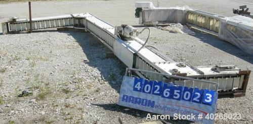 """Used- Deamco Corp. Overlapping Bucket Elevator, Carbon Steel. Approximately 17'-5"""" tall. Plastic buckets 6"""" long x 4"""" wide x..."""