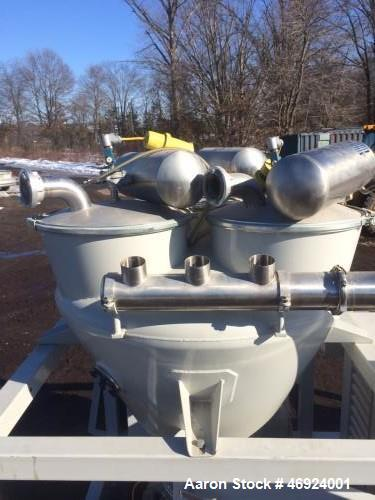 Unused- AZO Pneumatic Conveyor. Skid mounted. Includes: hopper, filters, blower, electric motor, rotary airlock, soundproof ...