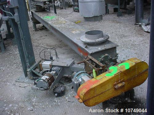 "Used-Screw Conveyor, 304 stainless steel, 9"" x 12'."