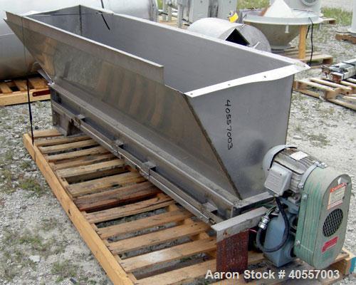 "Used- Screw conveyor, 304 stainless steel, horizontal. 9"" diameter x 77"" long x 4 1/2"" pitch screw. Split hinged trough 10"" ..."