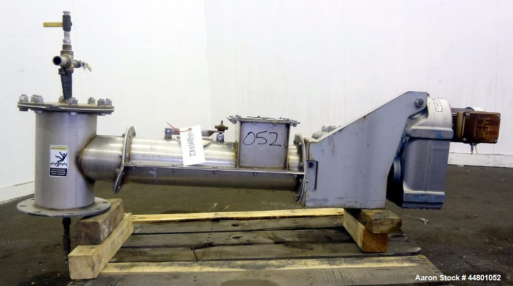 "Used- Conveyor Engineering Screw Conveyor, 304 Stainless Steel. Approximately 6"" diameter x 24"" long. Driven by a 1/2hp, 3/6..."