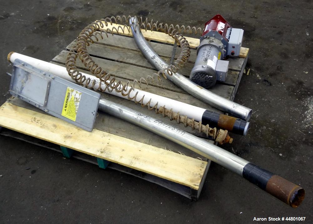 "Used- Flexible Screw Conveyor, Carbon Steel. Approximate 2-5/8"" diameter x 180"" long flexible screw, (2) sections of metal t..."