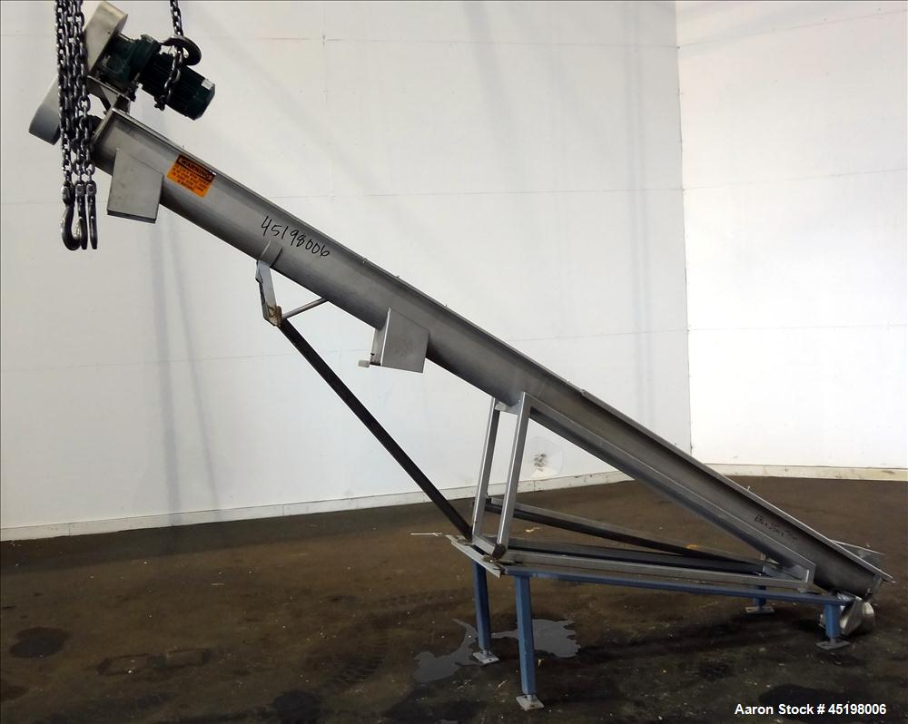 "Used- Incline Screw Conveyor, 304 Stainless Steel. 6"" Diameter x 156"" long x 3"" pitch screw. Top end feed, bottom end discha..."