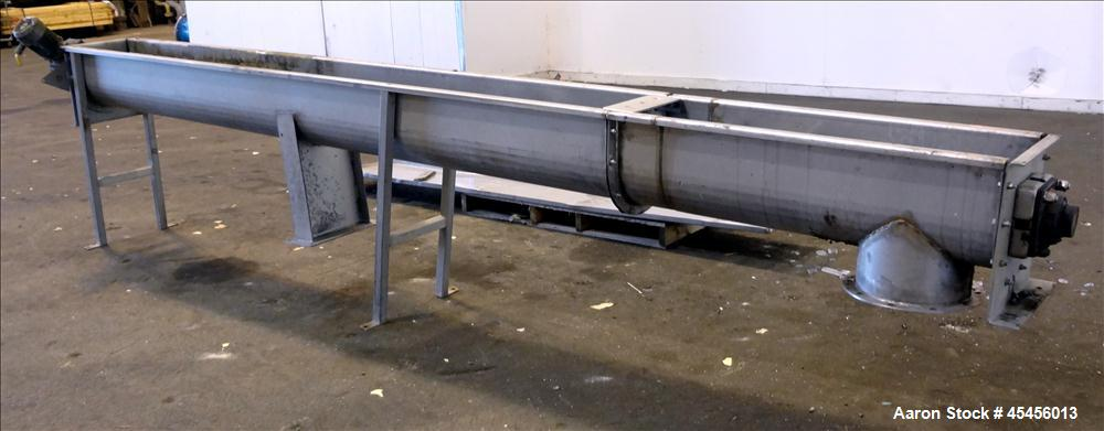 "Used- 10"" Stainless Steel Auger Conveyor"