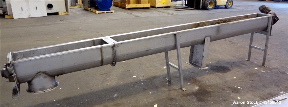 "Used- 10"" Stainless Steel Auger Conveyor"