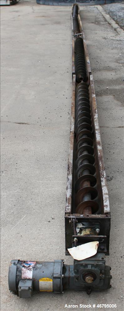 "Used- Screw Conveyor, Horizontal. Carbon steel screw 6"" diameter x 40' long x 6"" pitch. 304 Stainless steel trough, approxim..."