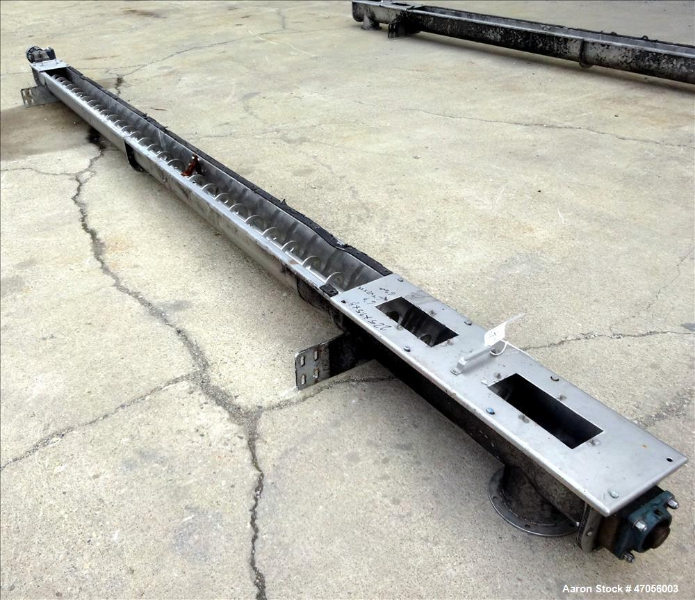 Used- Screw Conveyor/Continuous Mixer, 304 Stainless Steel, Horizontal.