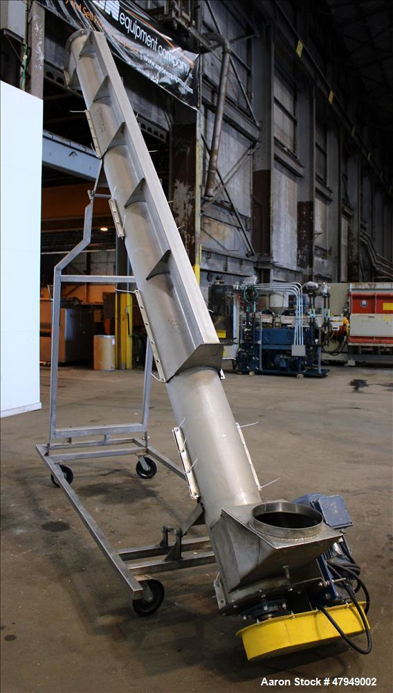 Used- Incline Screw Conveyor, 304 Stainless Steel.
