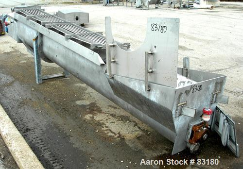 "USED: Incline screw conveyor, 304 stainless steel. 14"" diameter x 12'6"" long x 6"" pitch screw, approximately 1/2"" thick Tefl..."