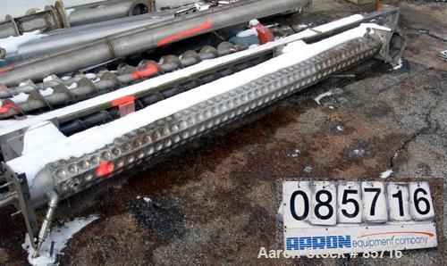 "Used- Screw Conveyor, 316 Stainless Steel. 6"" diameter x 10' long, dimple jacketed. 6"" pitch. 10"" x 10"" top infeed, 8"" x 8"" ..."